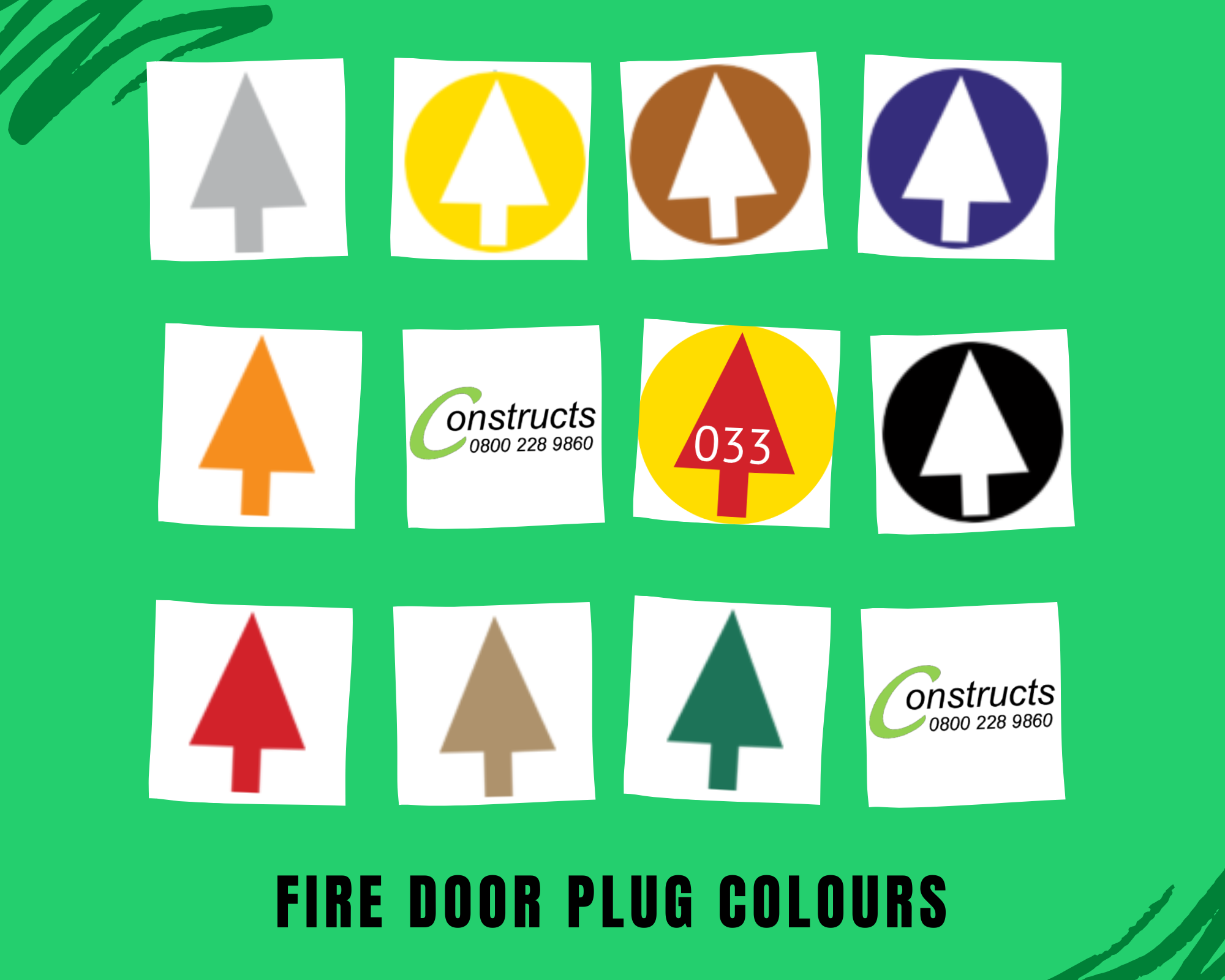 Q Mark Fire Door Installers UK Accredited Somerset Carpenters BM Trada FD Identification Plugs TREE COLOURS
